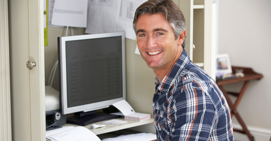 man working at home-based business